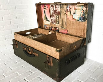 Vintage Shwayder Trunk with Tray Civilian Conservation Corps Travel Military Antique