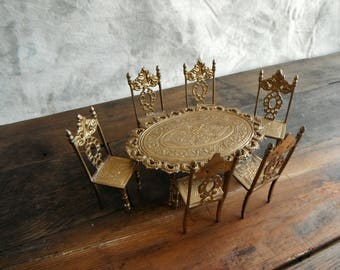 Vintage Brass Dollhouse Dining Table and Chairs