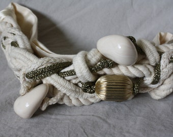 1980s Carolyn Tanner Belt / 80s Dynasty Big Hair Bling Belt / 1980s Fashion Belt / Gold White Beaded Belt / Adjustable Belt M