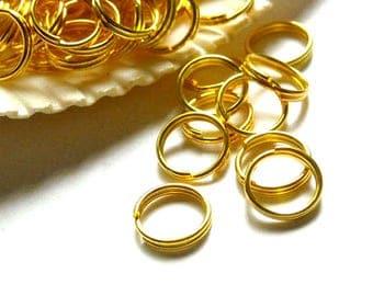 50 Gold Plated Double Loop Split Jump Rings 10mm - 8-16