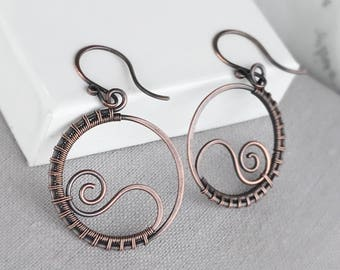Copper Hoop Earrings | Antique Copper Wire Wrapped Hoop Earrings | Unique Copper Earrings | Wire Wrapped Jewellery | Jewellery UK