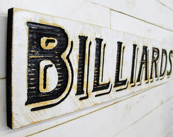 """Billiards Sign - 40"""" x 10"""" Carved in a Cypress Board Rustic Distressed Arts & Crafts Farmhouse Style Kitchen Wall Decor Wooden Gift"""