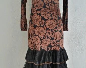 Flamenco Dress vestido de flamenco long sleeve stretch  bronze velvet floral and black ruffles  size  Medium