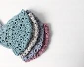 HALF PRICE - Crocheted baby bonnet . Cotton lace baby bonnet. Crochet baby hat. Modern vintage style.