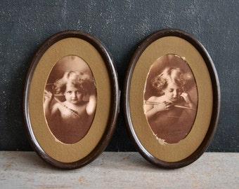 Cupid Awake and Cupid Asleep Antique Photos | Cupids with Arrows | Vintage Black & White Photographs | Original Tin Frame