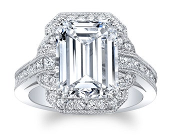 Women's Platinum engagement ring with 4 carat White Sapphire Emerald Cut and 1.10 carats diamonds G color VS2 clarity