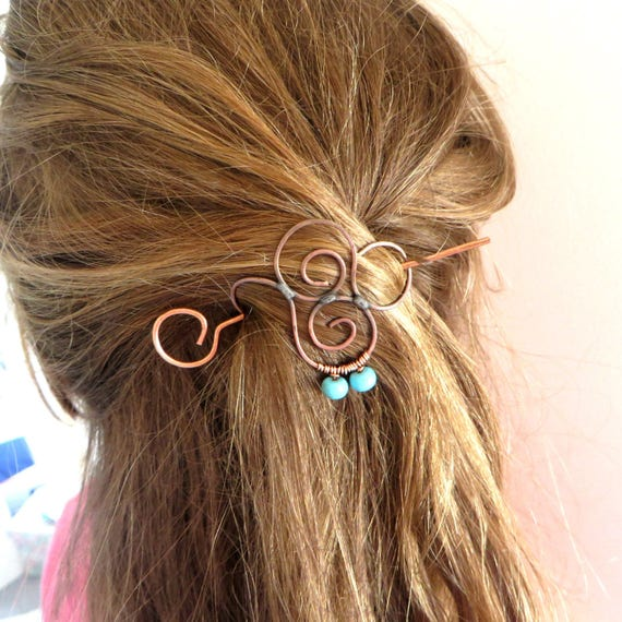 Copper Hair Stick Spiral Barrette, Turquoise, Hair Accessory, Bun Stick, Hair Decoration,  Wire Wrapped, Women, Girls Hair Pick