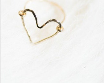 Heart Ring, Rings, Hammered Ring, Valentine's Gift, Gold
