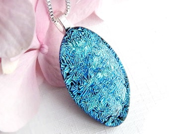Minty Blue Dichroic Glass Sparkle Pendant - Fused Glass Jewelry - Turquoise Art Glass Necklace