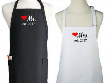 Mr. and Mrs. Apron Set 2017 Wedding Gift Idea, Fully Adjustable, Two Pocket Kitchen Aprons