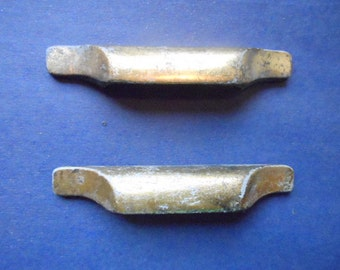 Pair of Midcentury Modern Gold  Colored Cast Metal Furniture Drawer Cabinet Grab Pulls 2 1/2  Inches On Center Restoration Salvage Hardware