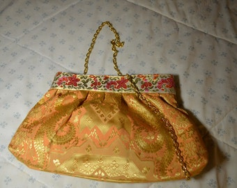 Zippered Evening Clutch with Vintage Textile  and Trim and a Chain Handle