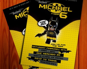NEW for 2017!! Lego Batman Movie Invitation (Digital File)