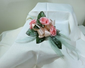 Peach Rose Corsage, Wedding, Prom, Anniversay.