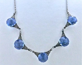Art Deco Stering Silver and Crystal Necklace