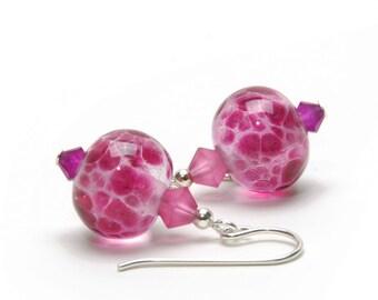 Fuchsia Pink Lampwork Glass Earrings, Sterling Silver