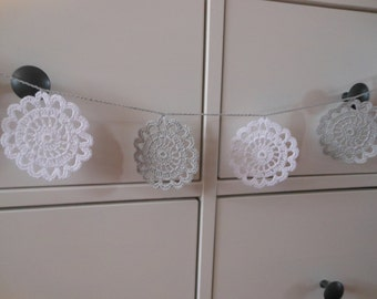 Crochet Garland Flower Wedding Garland Nursery Garland Home Decoration White ang Grey