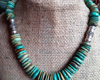 Turquoise Disc Necklace, Genuine Turquoise, Chunky Necklace, Turquoise Necklace, Turquoise Jewelry, Gift for her,Southwestern Jewelry