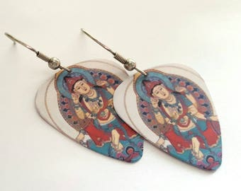 Buddhist Guitar Pick Earrings with Stainless Steel Earwires