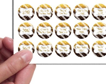 PreCut Edible Icing Frosted Image Mini Standard Cupcake Cookie Cake Lollipop Toppers Happy New Year 2017 Black Gold Favors