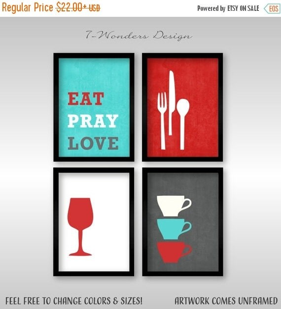 Modern Kitchen Art Set: ON SALE Modern Kitchen Wall Art Print Set By 7WondersDesign