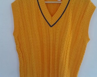 Vintage Vest 1980's 100% Marigold Yellow Cotton Cable Knit V-Neck Made in Italy for SAKS Fifth Avenue Urban Hipster Boxy Preppy Vest Size M