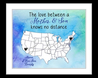 Mother's day gift for mom from son present long distance mother and son mom gift, mothers day  present, kids birthday, popular wall art 1a