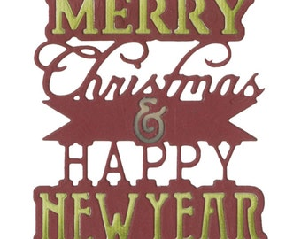 Sizzix - Thinlits Die - Phrase - Merry Christmas & Happy New Year by Jen Long