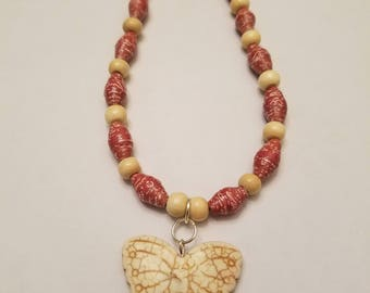 Beaded Necklace, Butterfly Necklace, Butterfly, Necklace, Paper beaded Necklace