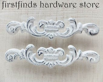2 White Drawer Pulls Shabby Chic Handles Furniture Hardware Painted Metal Dresser Cabinet Heavy Cottage Cast Iron 3inch DETAILS LISTED BELOW