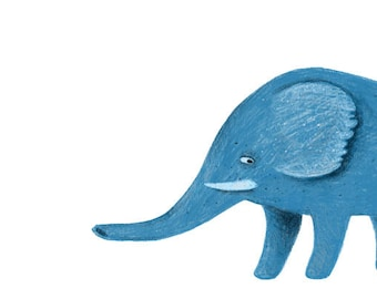 Looking Back Card - Elephant Card - A7 Greeting Card