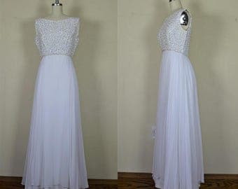 1960s Mike Benet White Chiffon & Sequin Wedding Gown Bust 36""