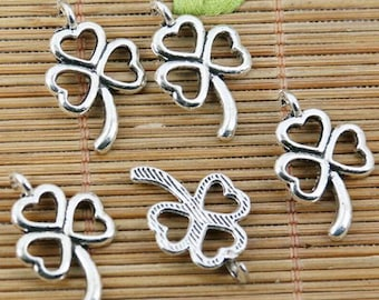 20pcs tibetan silver color heart hollow lucky leaf design charms EF2306