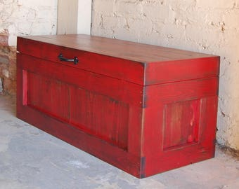 Hope Chest/Coffee Table/ Entry/ Trunk/ Wooden Chest/ Red/ Reclaimed Wood