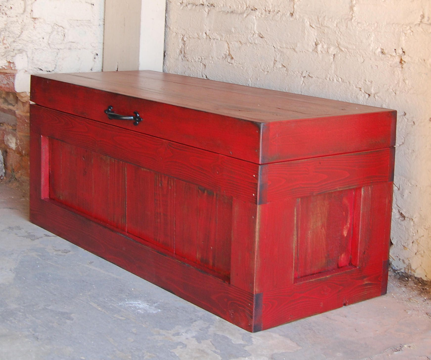 Hope Chest Coffee Table Entry Trunk Wooden Chest Red