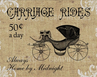 Cinderella Carriage Rides fairytale graphic download image for iron on fabric transfer burlap decoupage decals tote bags pillowsNo. 777