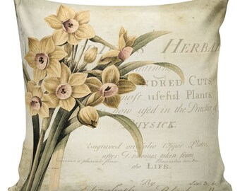 Easter Pillows, Daffodils, Spring Pillows, Throw Pillow Covers, Daffodil, Botanical Print, Burlap, Cotton,Spring Throw Pillow Covers #SP0067