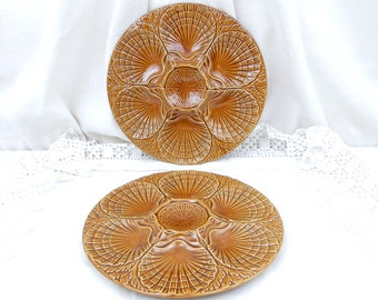 Vintage Oyster Plates Set of 2 Made in Portugal, Seafood Tableware, Shellfish Platter, Dining, Retro Vintage European Interior, Mid Century