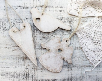 Rustic bird white wedding favors ornaments heart angel cottage chic guest favors bridal shower Valentines day