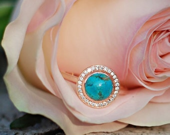 14k yellow gold u0026 turquoise engagement ring w diamond halo staghead designs