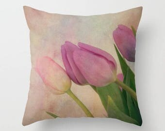 Home Decor, Decorative, Throw Pillow, Tulips, Springtime, Spring, Pastel, Nature Photography by RDelean