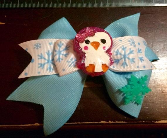 Winter penguin bow