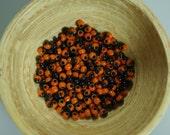 Vintage French Harlequin Black and Orange Beads size 8/0 10 grams