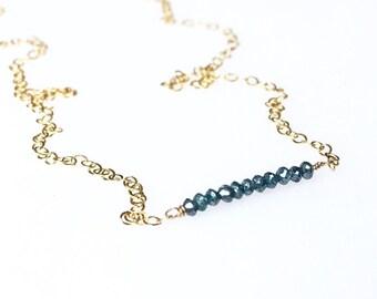 Genuine Blue Diamond Bar Necklace / April Birthstone / Blue Diamond Necklace / Mothers Jewelry / Gift for Wife / Delicate Diamond Necklace