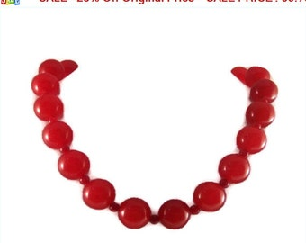SALE - 25% Off Original Price Crimson Red Jade Necklace With 20mm Beads Jewelry