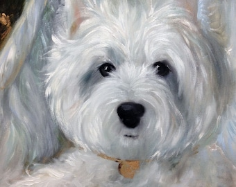 CANVAS or watercolor paper PRINT west highland terrier westie Dog  Angel wings halo/ Mary Sparrow of Hanging the Moon Art Studio