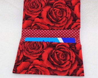 Red Rose and Polka Dot Design Credit Card Holder - Oyster Card Holder - Travel Accessories - Business Card Holder - Gift Card Purse