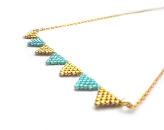 Sophie 147 necklace / / Miyuki and 24 k gold plated necklace woven gold and turquoise beads / / gifts for her / / mother's day jewelry