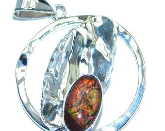 Ammolite Sterling Silver Pendant - weight 8.20g - dim L- 1 3 4, W - 1 1 4, T- 1 4 inch - code 24-lut-17-26