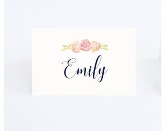 Floral Place cards, wedding place cards, bridal shower place card, name cards, table place card
